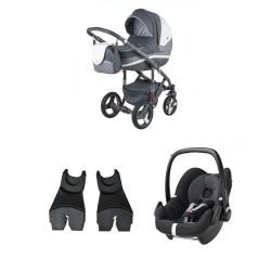 adamex wózek vicco carmel&grey 2w1 + fotelik pebble