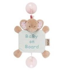 nattou charlotte & rose zawieszka z przyssawkami baby on board słonik rose 20 cm