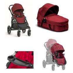 baby jogger wózek city select + dodatkowe siedzisko + gondola garnet