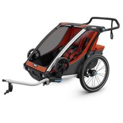 thule chariot cross 2 przyczepka rowerowa czerwona-szara