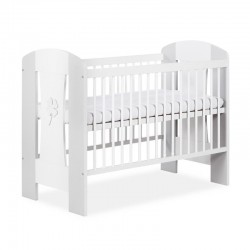 klupś łóżeczko nati koniczynka biały-popiel