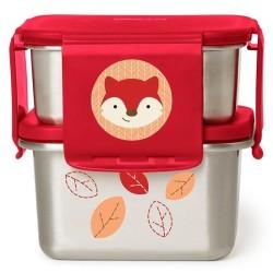 skip hop stalowe pudełko śniadaniowe zoo lisek