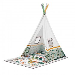 kinderkraft little gardner mata edukacyjna 3w1 z namiotem