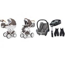 riko wózek brano natural 4w1 + fotelik maxi cosi cabriofix + familyfix